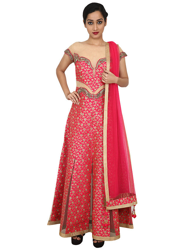 Bright pink embroidered designer anarkali with zardosi and diamante work