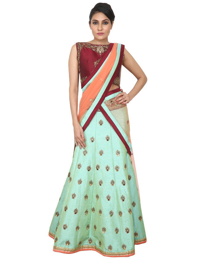 Sea green wine indowestern lehenga with mirror and zardosi embroidery