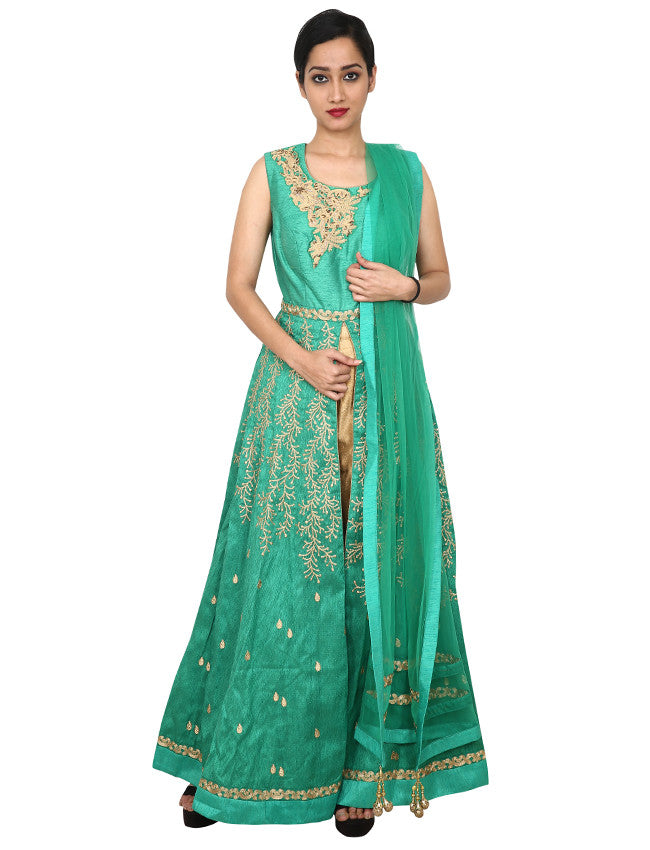 Green designer anarkali with zari embroidery and handwork