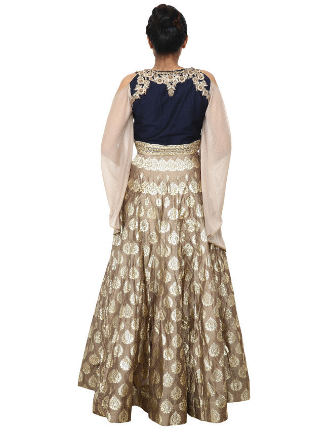 Grey navy blue indowestern lehenga with foil print and handwork