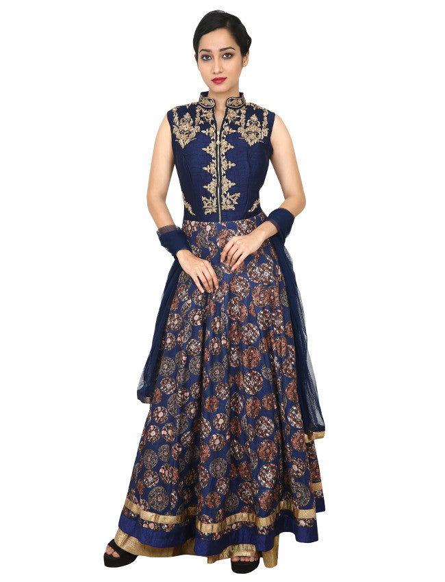 Navy blue anarkali with zardosi and diamante work