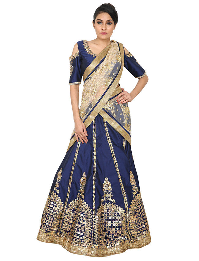 Navy blue lehenga with sequins and zari embroidery