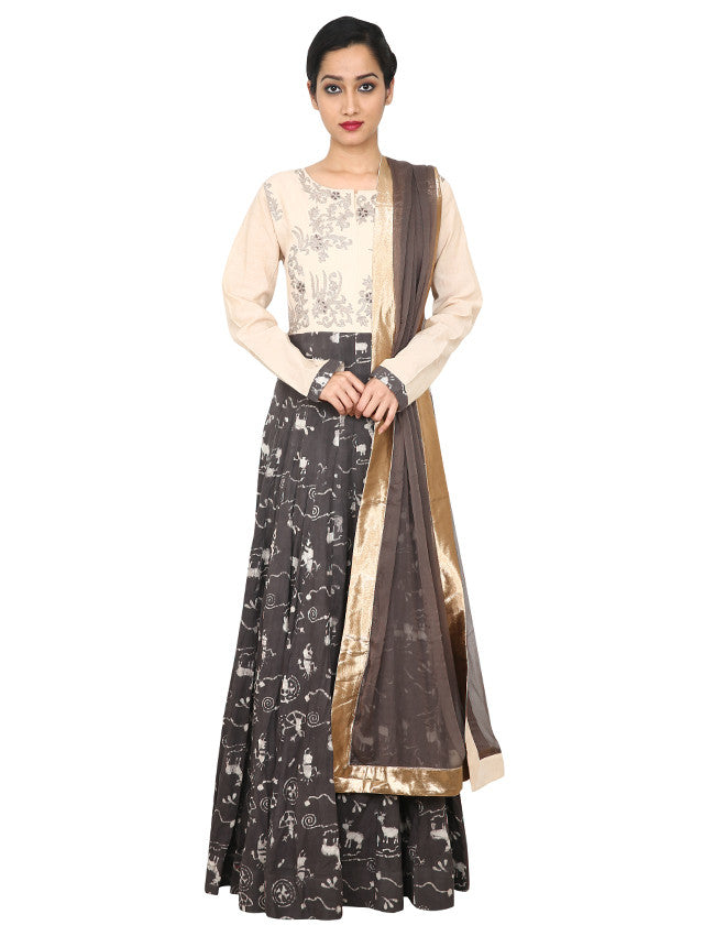 Ash grey anarkali with cutdana and thread embroidery