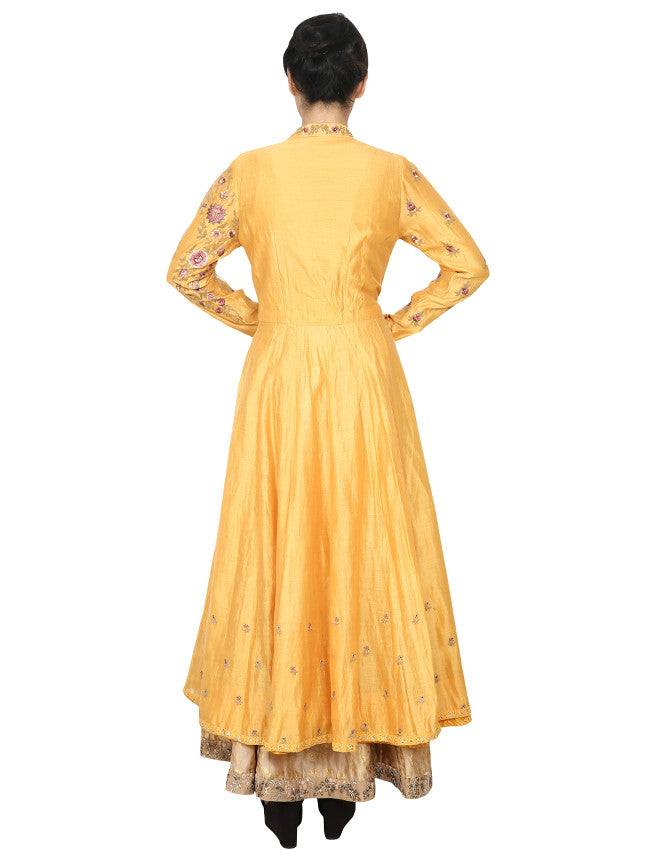 Yellow cream foil printed jacket anarkali with zari and resham embroidery