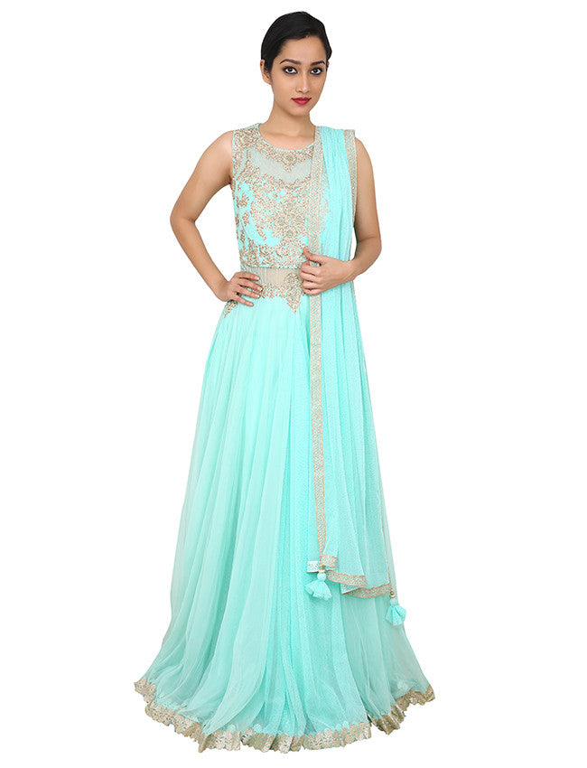 Mint designer suit with kundan and zari embroidery