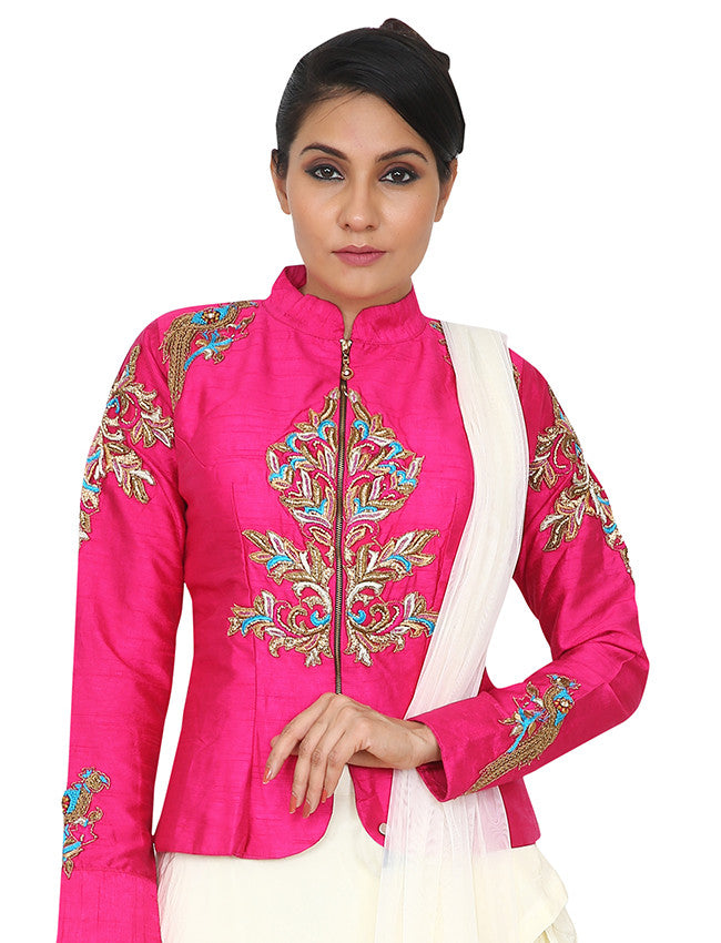 Pink designer suit with zardosi and zari embroidery