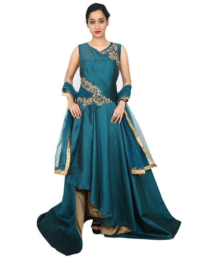 Teal green designer suit with handwork