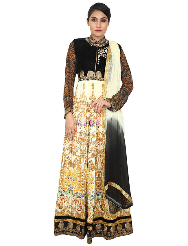 Cream printed anarkali with mirror and zari embroidery