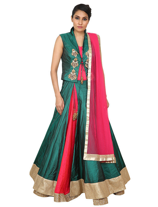 Green and deep pink jacket anarkali with zari embroidery