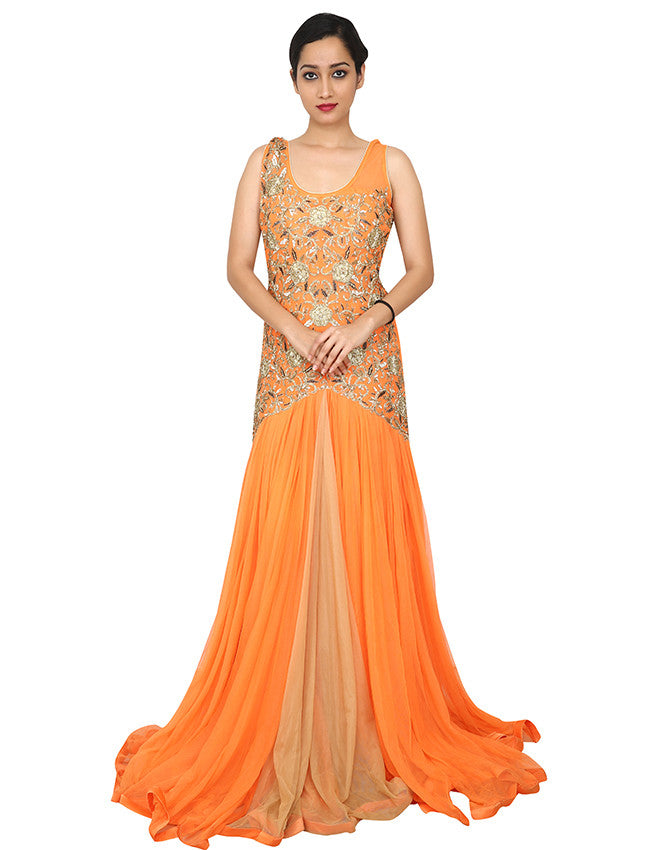 Orange designer suit with diamante and zari embroidery
