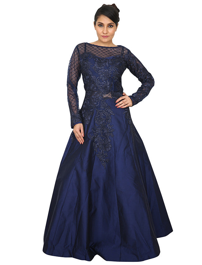 Navy blue indowestern gown with self thread cording