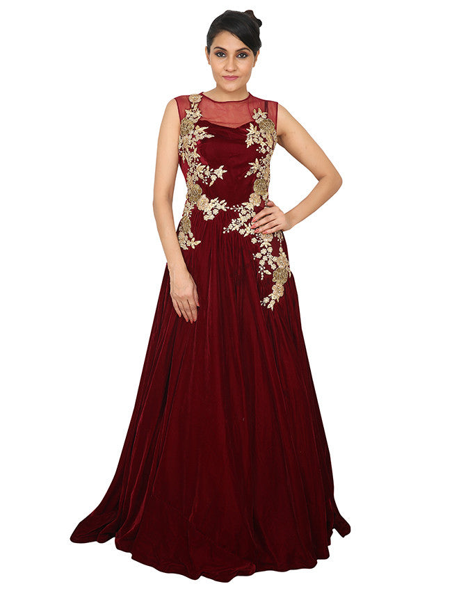 Maroon indowestern gown with zari embroidery and handwork