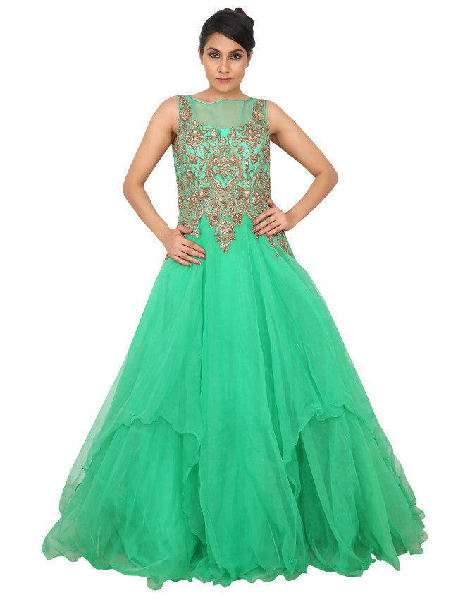 Green indowestern gown with beautiful handwork