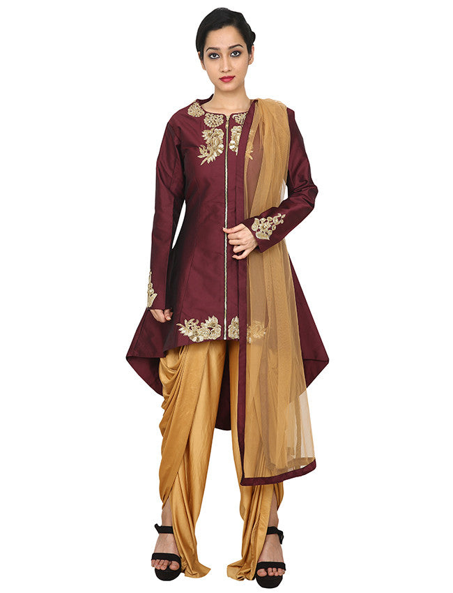 Wine designer suit with cutdana work