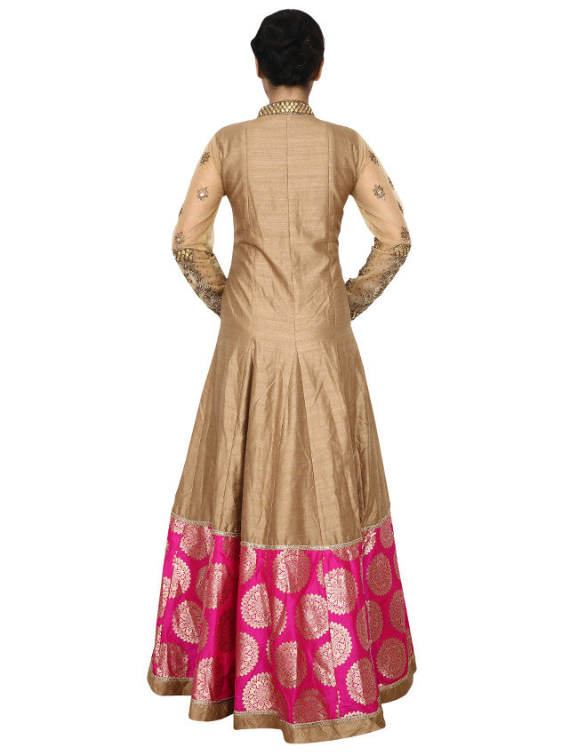 Cream and yellow shaded anarkali with Beaded work