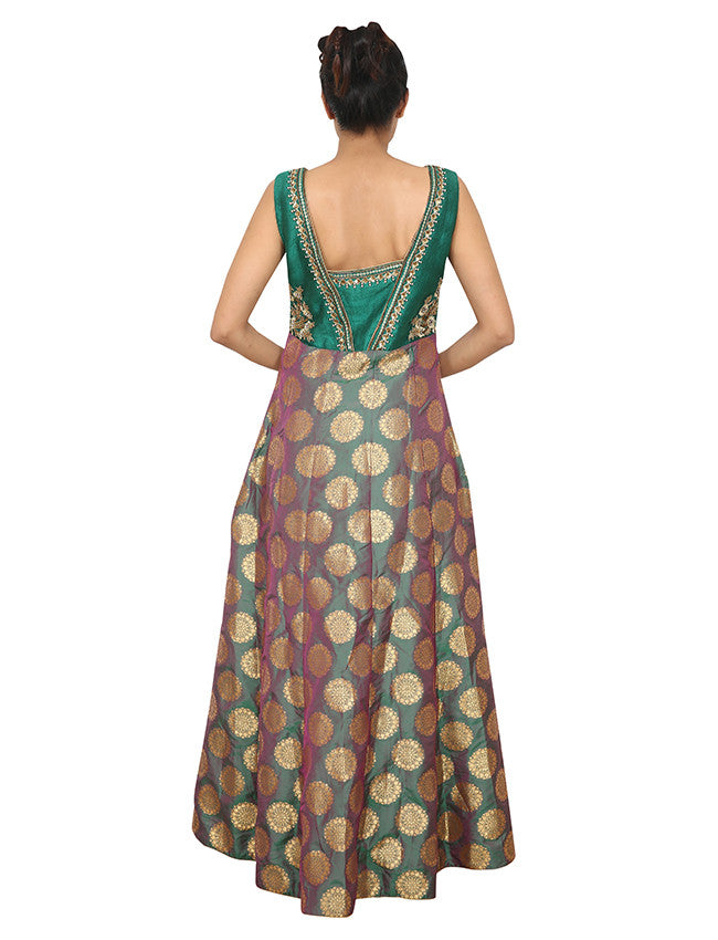Green anarkali suit with zari embroidery and handwork