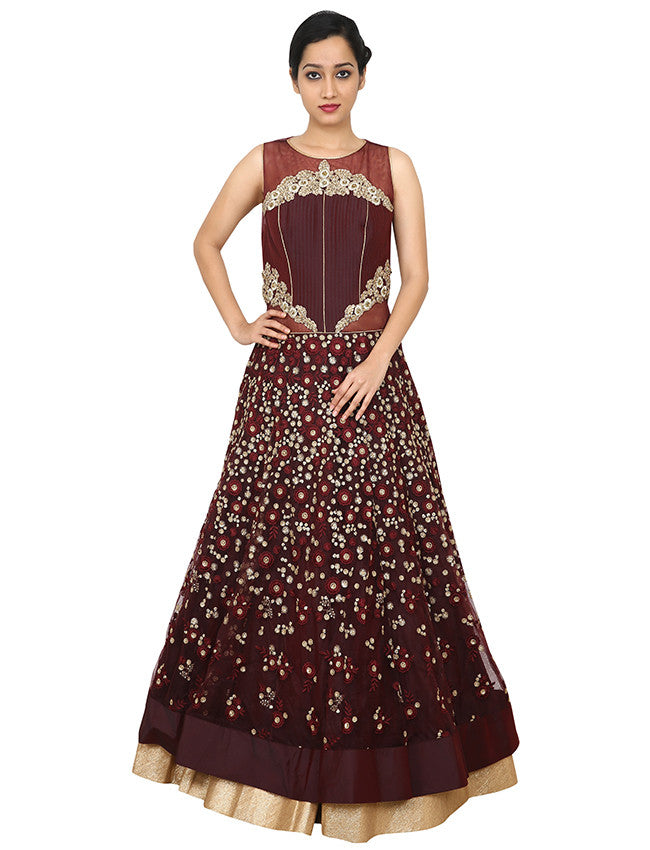 Dark brown gown with sequins resham embroidery and handwork