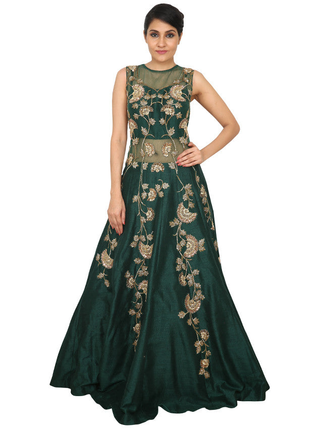 Bottle green indowestern gown with zari and cutdana work