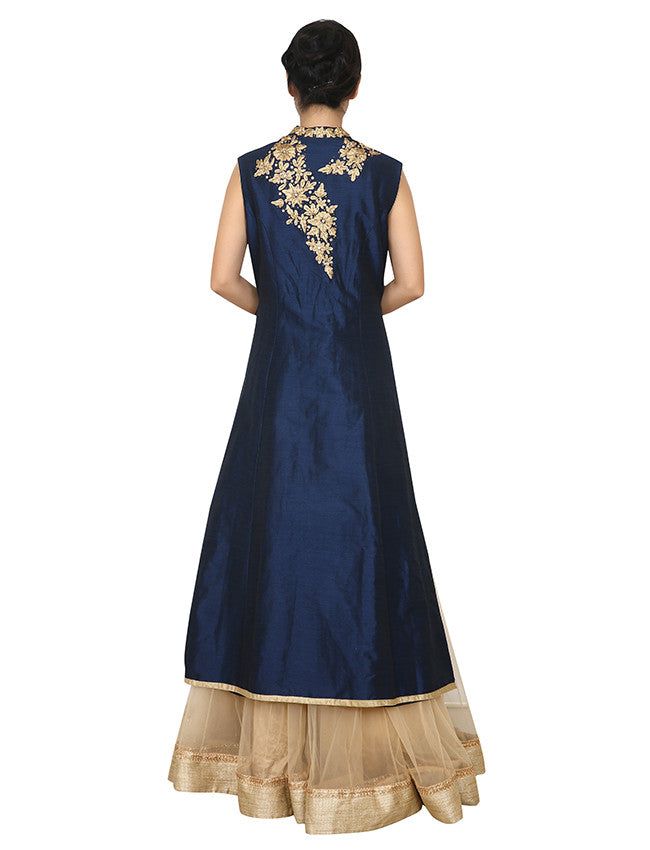 Navy blue beige jacket lehenga with kundan and zari cording