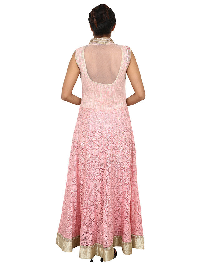 Baby pink designer anarkali with thread embroidery and handwork