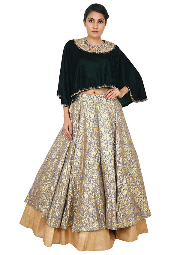 Grey cape style indowestern lehenga with handwork
