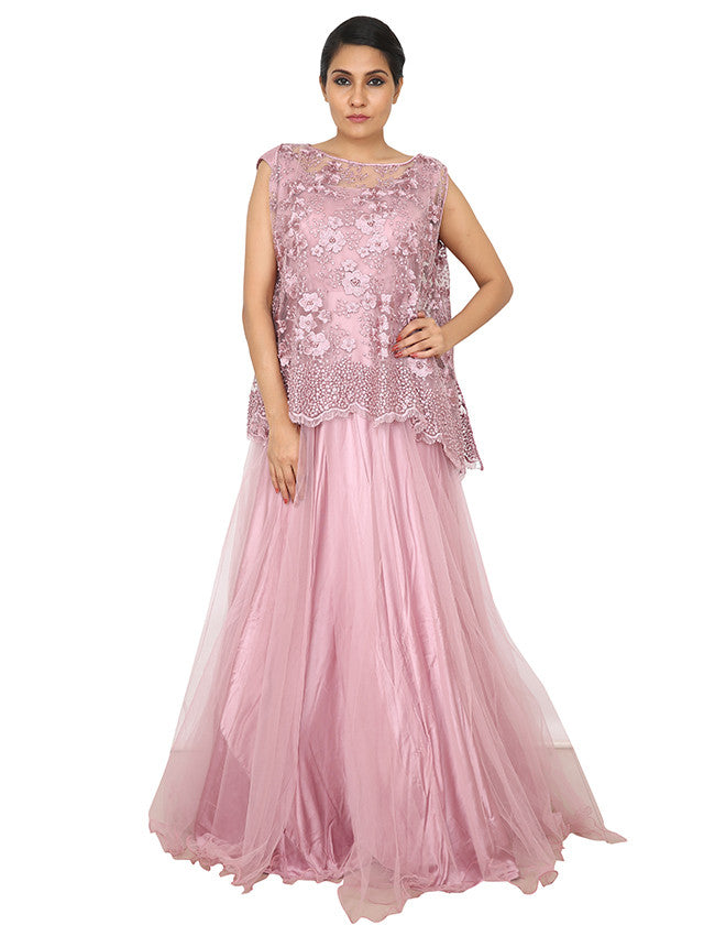 Onion pink ape style gown with pearl and resham embroidery