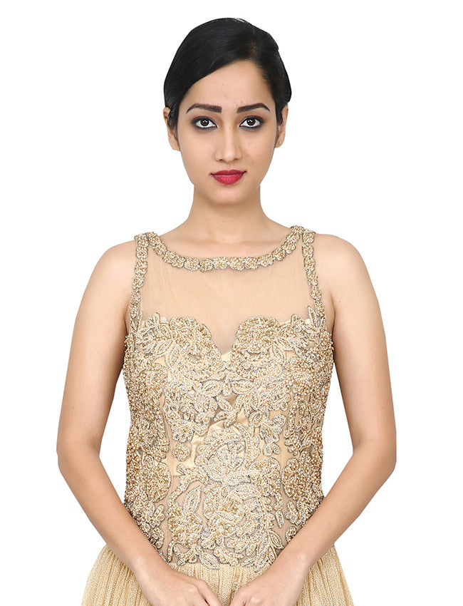 Beige indowestern gown with thread embroidery and handwork