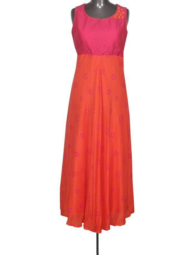 Orange and pink kurti with thread work