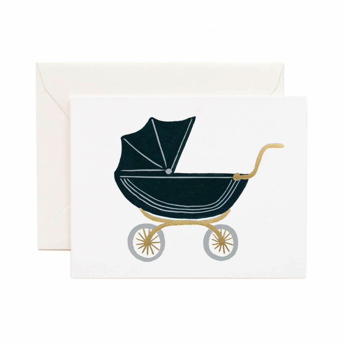 Tarjeta Pram de Rifle Paper Co. para bautizo o baby shower