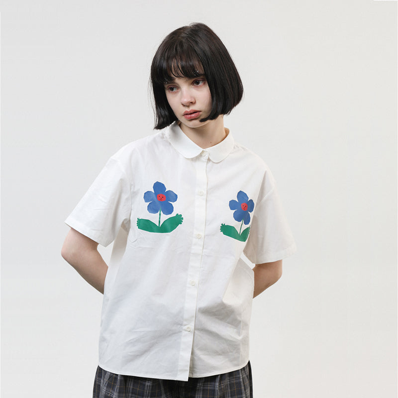 Two Flowers Collar Shirt