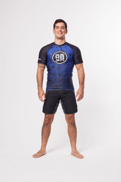 ATAMA BLUE RANKED RASH GUARD - LONG SLEEVE