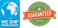 Global Shipping. Satisfaction Guaranteed Trust Seal.