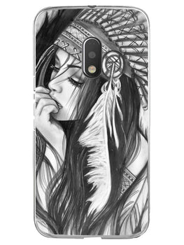 Triabal Girl Sketch Moto G4 Play Mobile Cover Case