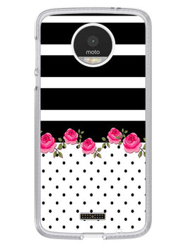 Rose Polka Stripes Moto Z Mobile Cover Case