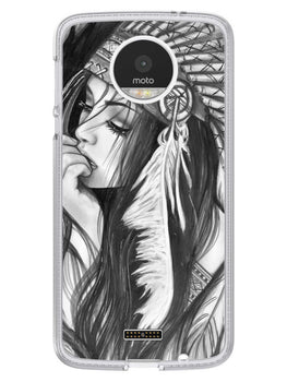 Triabal Girl Sketch Moto Z Mobile Cover Case