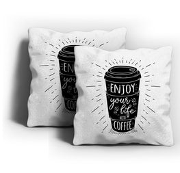 Life With Coffee Cushion Cover