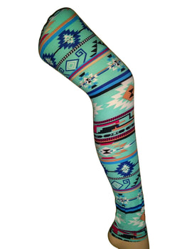 Premium Super Soft Stretchable Free Size Aqua Quadrilateral Printed Leggings for Women