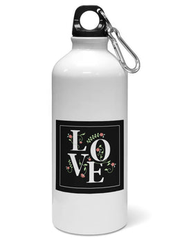 Floral Love Typography Valentine Gift Water Sipper Sports Bottle