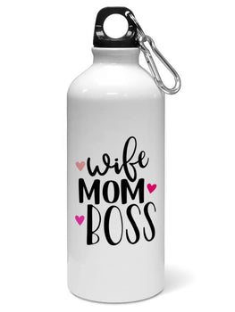 Wife Mom Boss Typography Water Sipper Sports Bottle