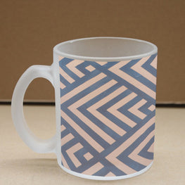 Peach Blue Stripes Frosted Glass Coffee Mug