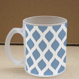Blue Pattern Frosted Glass Coffee Mug