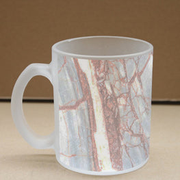 Marble Red Veins  Frosted Glass Coffee Mug