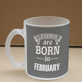 Legends February Frosted Glass Coffee Mug