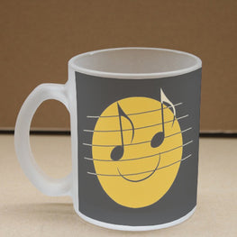 Musical Smiley Frosted Glass Coffee Mug