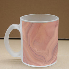 Orange Marble Frosted Glass Coffee Mug