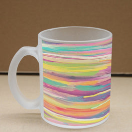 Painted Strokes Frosted Glass Coffee Mug