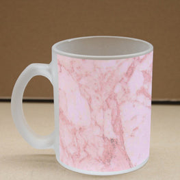White Marble Red Veins Frosted Glass Coffee Mug