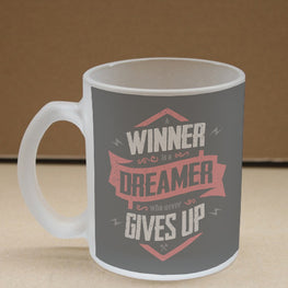 Winner is Dreamer Frosted Glass Coffee Mug