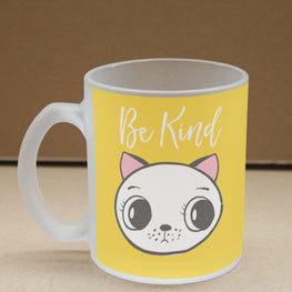 Be Kind Meow Frosted Glass Coffee Mug