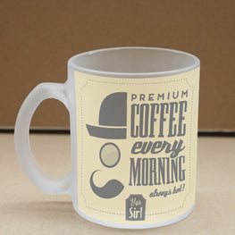 Premium Coffee Frosted Glass Coffee Mug